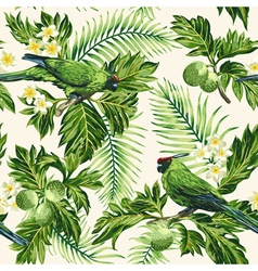 Seamless exotic tropical pattern with leaves vector