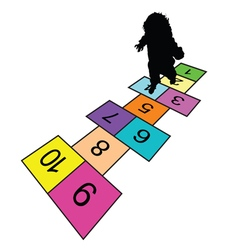 child play hopscotch game silhouette vector image