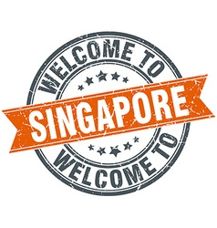 Welcome to singapore orange round ribbon stamp vector