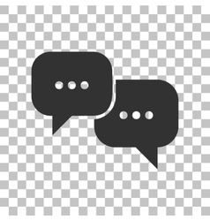 Speech bubbles sign dark gray icon on transparent vector
