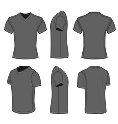 All views mens black short sleeve v-neck t-shirt vector image