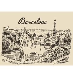 Barcelona landscape spain hand drawn sketch vector