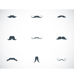black mustaches icons set vector image vector image