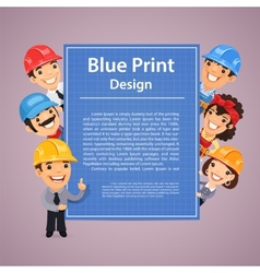 Builders presenting blue print poster vector