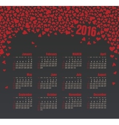 Calendar for 2016 with heart Week Starts Sunday vector image vector image