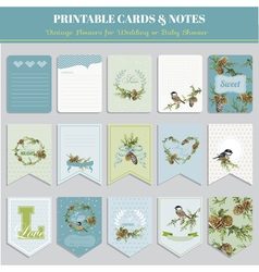 Cards tags and labels - christmas winter birds vector