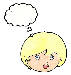 cartoon female face looking upwards with thought vector image