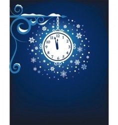 Clock at midnight vector
