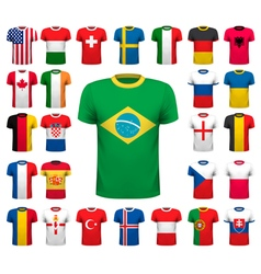 Collection of various soccer jerseys national vector