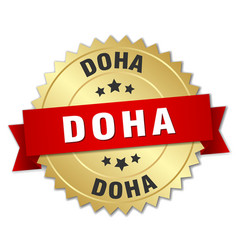 Doha round golden badge with red ribbon vector