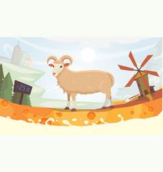 farm milk sheep cartoon vector image