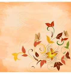 floral pattern with butterflies grunge vector image