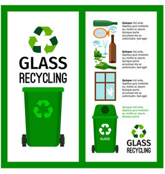 garbage green container info with glass vector image