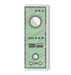 Green striped remote controller with buttons vector