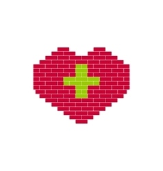 Heart Shape created from bricks vector image
