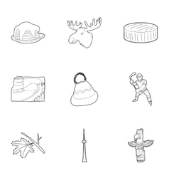 Holiday in Canada icons set outline style vector image vector image