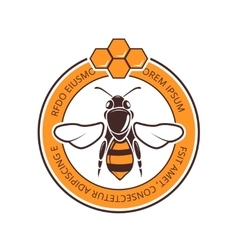 Retro beekeeper honey bee logo vector