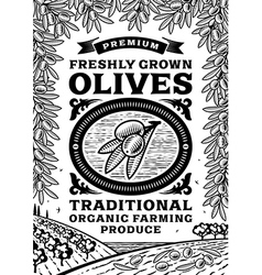 Retro olives poster black and white vector image