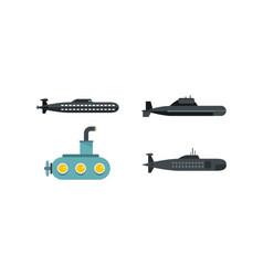 Submarine icon set flat style vector