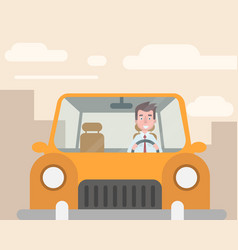 the manager went to the car to work vector image vector image