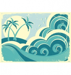 Tropical island seascape vector