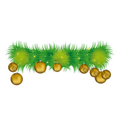 wreath with pine leaves and golden garlands vector image