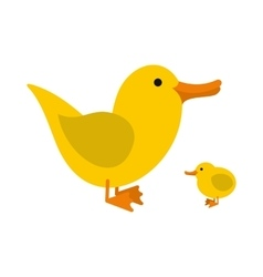 Yellow ducklings icon vector