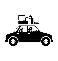 black silhouette family car with baggage vector image