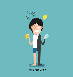 Yes or no for businessmen work enthusiasm vector