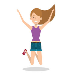 Woman celebrating with a leap vector