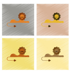 assembly flat shading style icons cartoon lion vector image