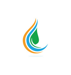 Water drop and leaf abstract logo design vector