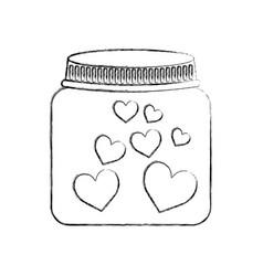 mason jar with hearts isolated icon vector image