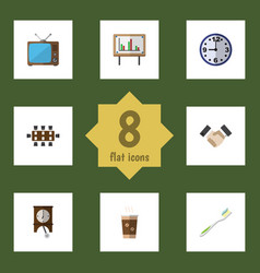Flat icon life set of television clock boardroom vector