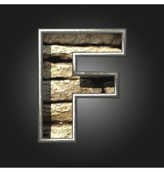 Old stone letter f vector