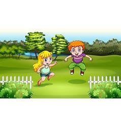 Two Caucasian kids dancing vector image