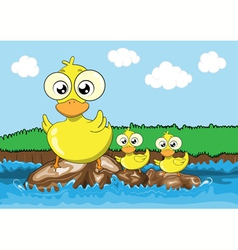 Mother duck and her ducklings cartoon vector