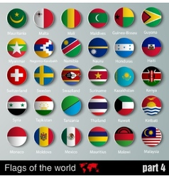 Flags of all countries with shadows vector