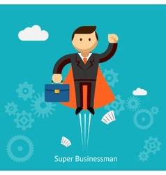 Flying super businessman cartoon vector