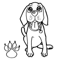 Dog with paw print coloring page vector