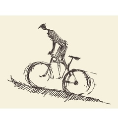 Bicyclist rider man bike hand drawn sketch vector image
