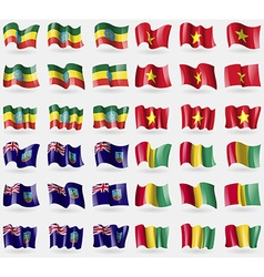 Ethiopia vietnam montserrat guinea set of 36 flags vector