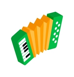 Green accordion with yellow bellows icon vector