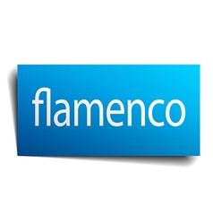 Flamenco blue paper sign on white background vector