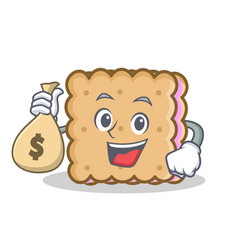 Biscuit cartoon character style with money bag vector