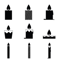 Black candles icon set vector
