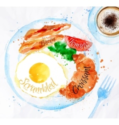 Breakfast watercolors bacon eggs vector
