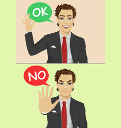 businessman says ok and no vector image