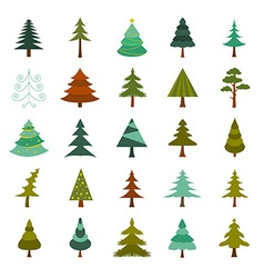 Christmas tree icon set Flat design vector image vector image