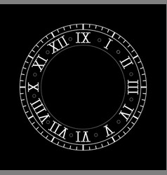 Clock with roman numerals on vector